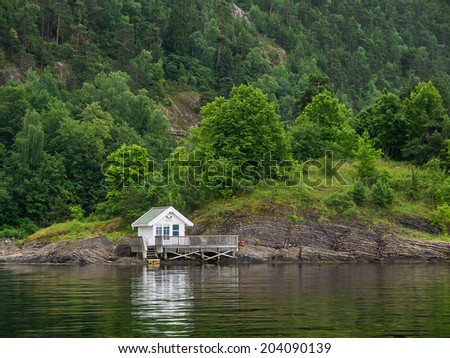 Norwegian house in Oslo Fjord - stock photo