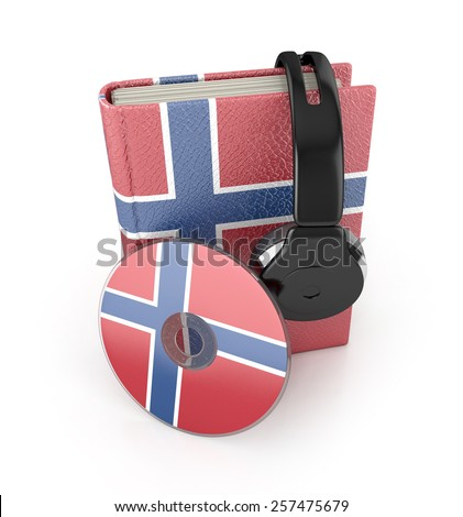 Norwegian language learning concept with cd, book and headphones. 3d render. Audio Book - stock photo