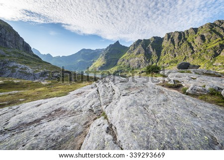 Norwegian Mountain Landscape from A peak, Lofoten Islands, North Norway - stock photo