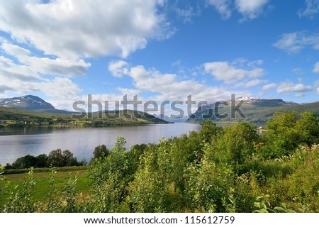 Norwegian mountain landscape - Islands in northern Norway - stock photo