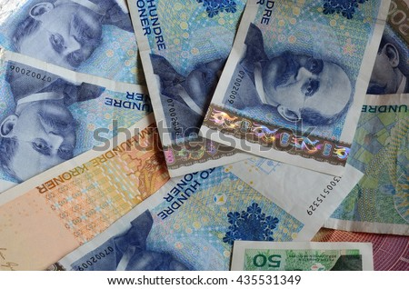 norwegian paper money in a pile closeup photo