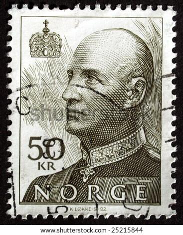 Norwegian postage stamp from Norway - stock photo