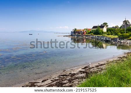 Norwegian sea bay in summer scenery - stock photo