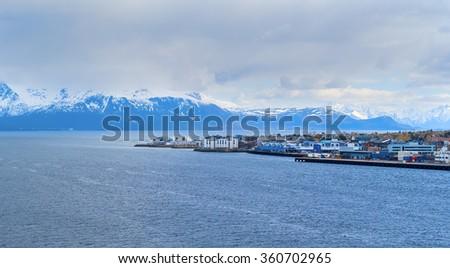 Norwegian town on Lofoten islands in cloudy day - stock photo