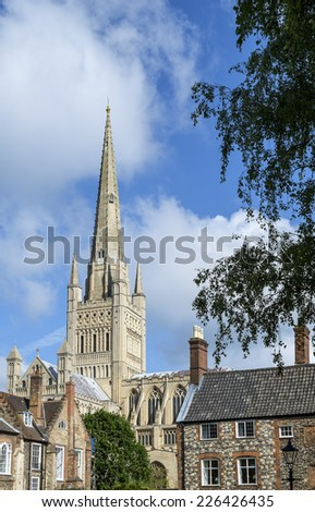 Norwich Cathedral amongst the surrounding houses. - stock photo