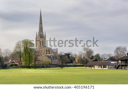 Norwich Cathedral from the playing fields
