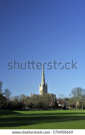 Norwich cathedral, Norfolk, UK. - stock photo