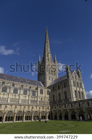Norwich, Northfolk, UK, March 30th 2016 - Showing the Norwich Cathedral catholic church, Showing the extior of the church on a sunny day in March 2016