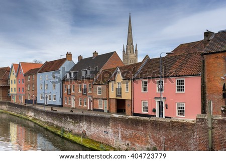 Norwich quayside on the River Wensum - stock photo