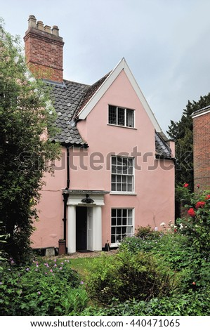 NORWICH, UK - JUNE 11, 2016. An eighteenth century cottage in Ferry Lane, between the cathedral and the River Wensum at Norwich, Norfolk, England, UK.
