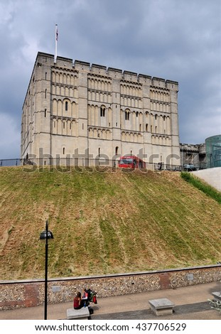 NORWICH, UK - JUNE 11, 2016. Norwich castle was built between 1095 and 1100 and is now a museum and art gallery in the city of Norwich, Norfolk, England, UK.