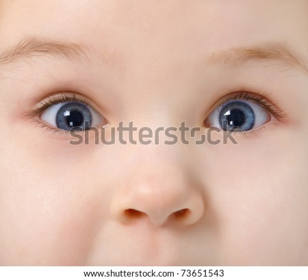 Nose and two eyes of child - face close up - stock photo