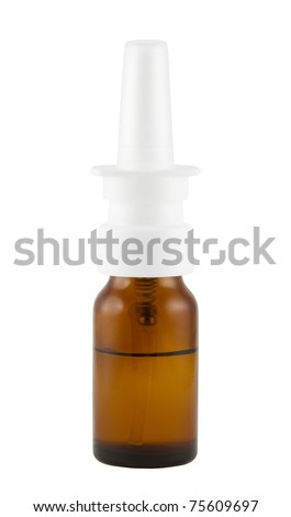 nose spray vial isolated on white - stock photo