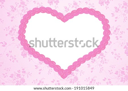 nostalgic floral background with pink heart and copy space - stock photo