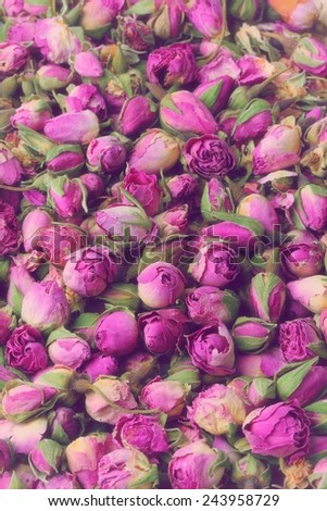 Nostalgic image of pink dried roses buds. - stock photo
