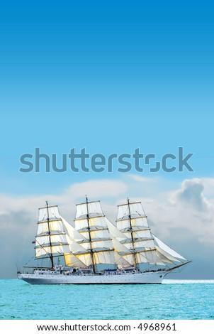 nostalgic sailboat sailing the caribbean on a sunny day - stock photo