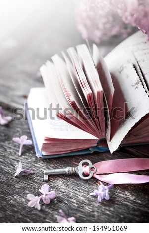 Nostalgic vintage background/ Vintage books,Photos of Memories and key with lilac flower