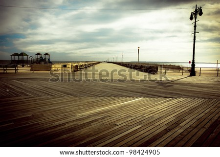 Nostalgic, vintage style image from the Brooklyn Coney Island Boardwalk - stock photo