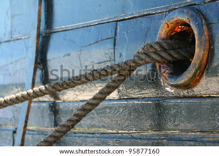 nostril by leaving two ropes anchored to the shore - stock photo