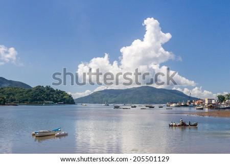 NOSY BE, MADAGASCAR - APR 9: View on the landing stage of Hell Ville, Nosy Be island, Madagascar on apr 9, 2008. - stock photo