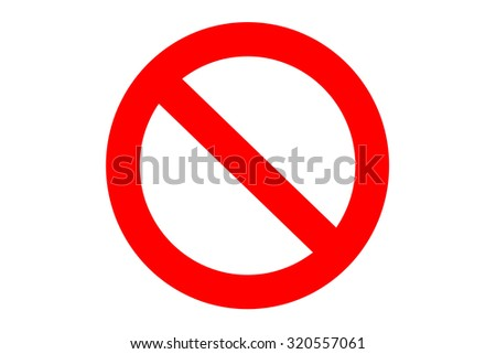 Not allowed sign on white background
