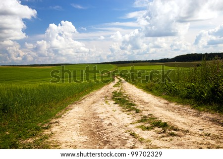 not asphalted rural road. summertime of year. - stock photo