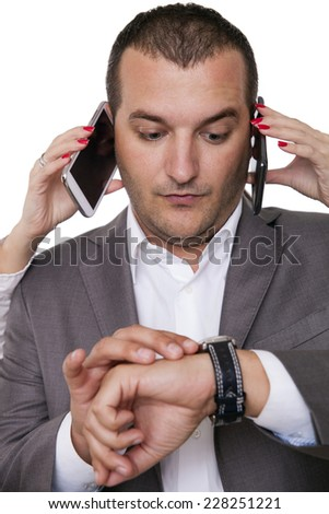 Not enough time for all the tasks in the office - stock photo