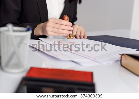 Notary notarize testament at notary public office. Notary public working accessories  - stock photo