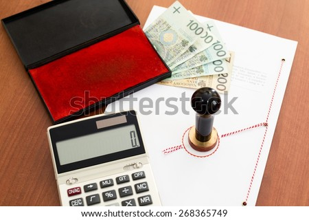 Notary seal and notarial act signed by a notary public  - stock photo