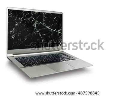 notbook Laptop computer white screen on isolated white