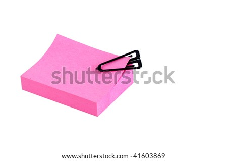 note block whit black clip, isolated on white - stock photo