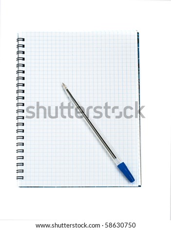 Note book and pen, isolated on white - stock photo