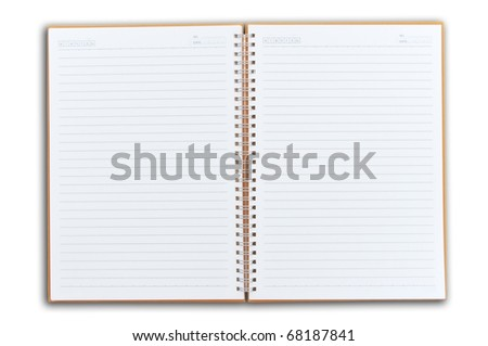 note book two face open as white isolate background - stock photo