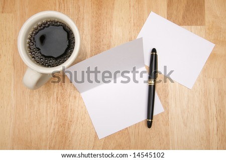 Note Card & Envelope with room for your own text and coffee. - stock photo