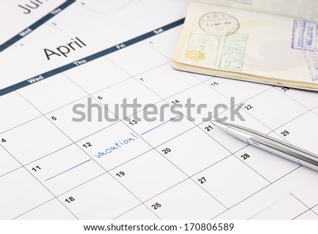 note date of vacation planning on calendar