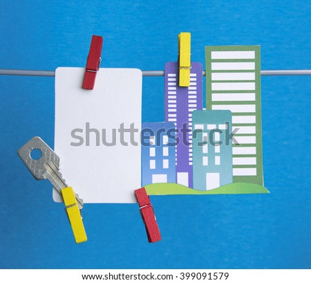 note for text and city apartment house Building, key. concept for information, message rules - stock photo
