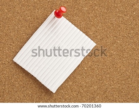 note on a cork-board, extreme closeup photo - stock photo