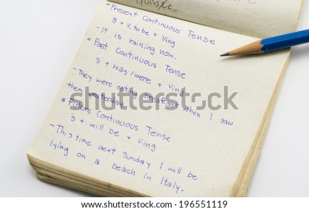 Note on English grammar  - stock photo