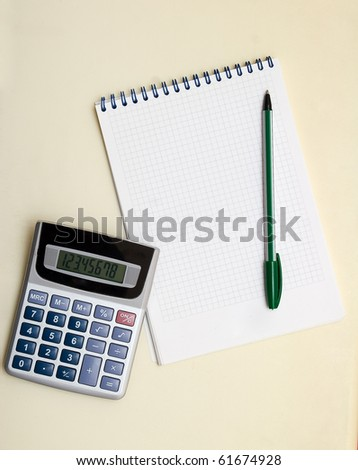 Note pad and calculator