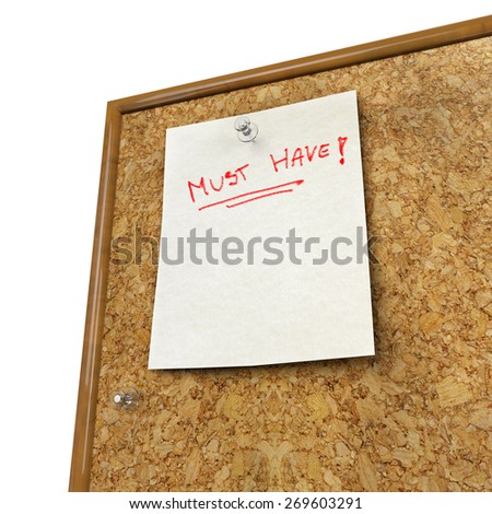 Note pad and push pin isolated on cork board ready for your text - stock photo