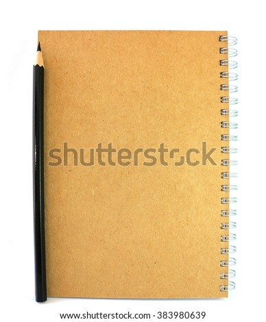Note pad with pencil White background