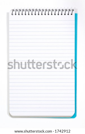 Note Pad With White Pages. Isolated on White - stock photo