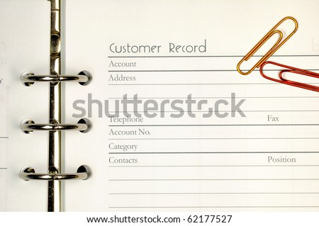 Note page for customer record form. - stock photo