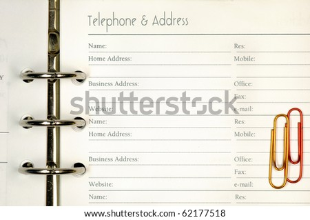Note page for telephone and address form. - stock photo