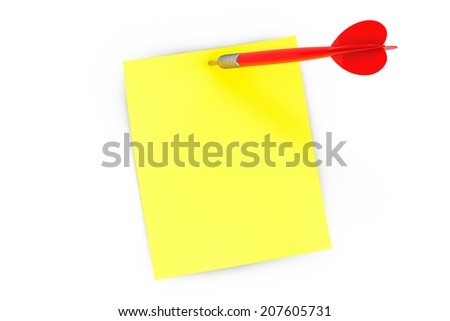 Note paper and darts arrow on a white background - stock photo