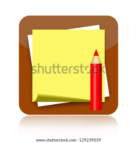 Note paper and pencil icon - stock photo