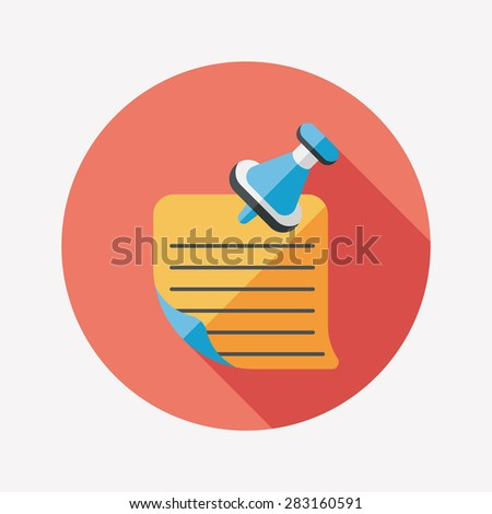 note paper flat icon with long shadowg - stock photo