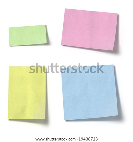 Note paper in different shapes and colors