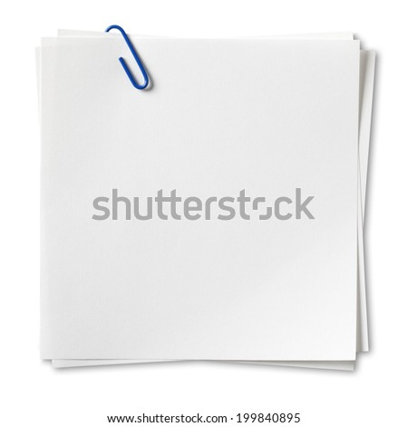 Note paper, Isolated on white with clipping path