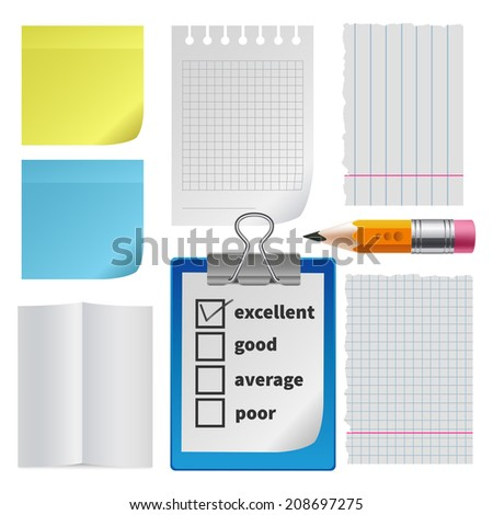 Note paper office set. Folded ragged blank squared lined, sticker reminder, tablet with checklist and pencil, isolated - stock photo